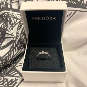 Clear Three-Stone Pandora Ring